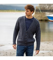 mens merino wool v neck cardigan charcoal small