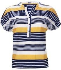 blusa m/c a rayas color azul, talla 10