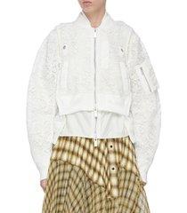 double lace crop bomber jacket
