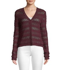 m missoni women's open knit cardigan - mauve wine - size 42 (6)