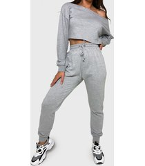 conjunto missguided coord off the shoulder sweat & jogger gris - calce regular