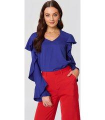rut&circle v neck frill blouse - blue