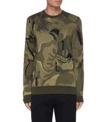camouflage skull jacquard wool blend sweater