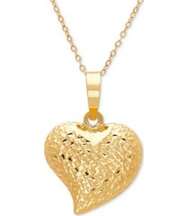 """textured puff 17"""" heart pendant necklace in 10k gold"""