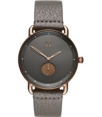mvmt men's revolver bronze age gray leather strap watch 45mm