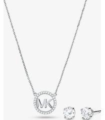 mk set orecchini a bottone e collana in argento sterling placcato ororosa14k con ciondolo logo e pavé - argento (argento) - michael kors