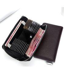 portafoglio a 6 pollici in pelle vera con 24 card slots portacarteportacellulare portachiave