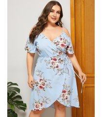 vestido de hombro frío con estampado floral azul cielo talla grande de yoins