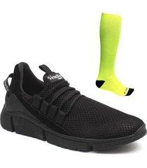 kit tênis casual masculino + meia compressão esporte leve - masculino