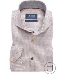 overhemd ledub bruin motief modern fit