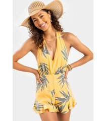 donyae palm leaf halter romper - yellow