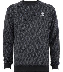 polerón adidas originals mono aop crew negro - calce regular