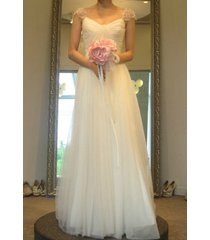 sexy a-line sweetheart cap sleeves white tulle wedding dress,bridal /bridesdress