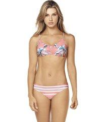 bikini rose reversible coral lisantino