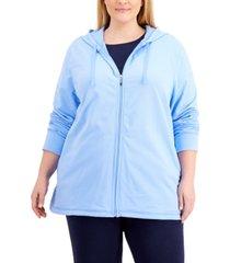 karen scott plus size zippered hoodie, created for macy's