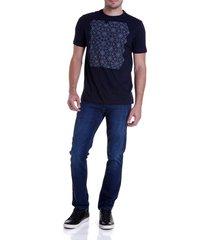 calca dudalina denim malha washed blue masculina (jeans medio, 50)