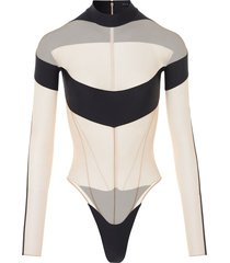 illusion sheer bodysuit black