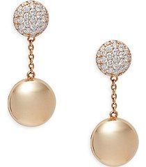 18k rose gold, ruby & diamond earrings