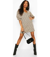 leopard jacquard puff sleeve shift dress, stone