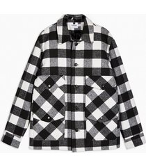 mens black and white check coat with wool