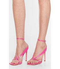 womens thong time coming strappy stiletto heels - pink