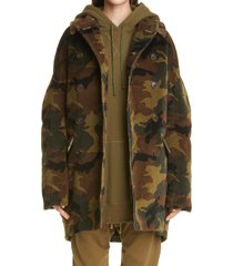 women's r13 camo oversize double breasted corduroy hunting coat, size small - green