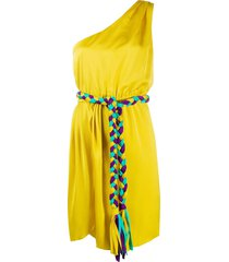 giada benincasa one shoulder belted tassel dress - yellow