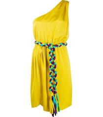 giada benincasa one shoulder belted tassel dress - yellow