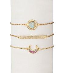 18k yellow goldplated & cubic zirconia moon & heart pendant bracelet