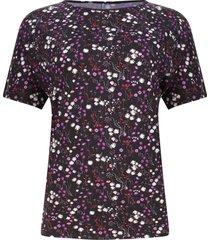 camiseta mujer flores rosas y blancas color morado, talla xs