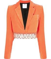 area beaded-hem cropped jacket - orange