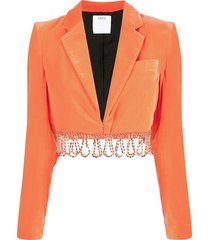 area beaded-hem cropped jacket - orange