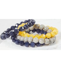 lane bryant women's 4-row beaded stretch bracelets onesz yellow