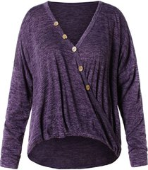 plus size buttoned batwing sleeve marled t-shirt