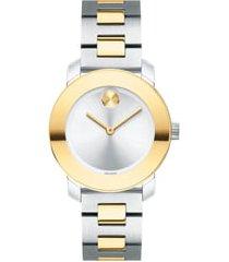 women's movado bold iconic two-tone bracelet watch, 30mm