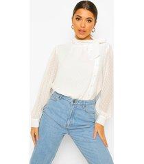 dobby mesh blouse met strik, white