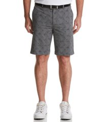 pga tour men's stretch geometric palm-print seersucker golf shorts