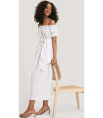 glamorous bardot tie waist midi dress - white
