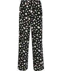 aspesi abstract-print silk trousers - black