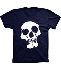camiseta lu geek manga curta caveira azul marinho