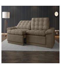 sofá 4 lugares net confort assento retrátil e reclinável capuccino 2,20m (l)