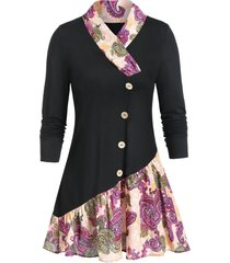 paisley print shawl collar long sleeve tunic tee