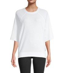 kensie women's ribbed raglan-sleeve top - white - size m