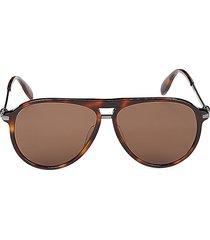 alexander mcqueen women's faux tortoiseshell 61mm aviator sunglasses - shiny medium brown