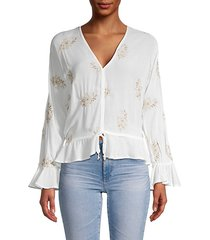 floral embroidery peplum top