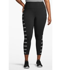 lane bryant women's active capri legging - printed inset 14/16 black with stripes