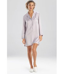 natori feather satin essentials notch collar sleepshirt pajamas, women's, silver, size xs natori