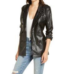 women's blanknyc the nightingale faux leather blazer, size x-small - black