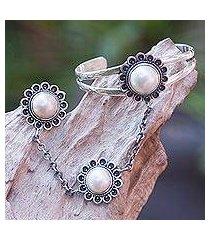 cultured pearl flower harem bracelet with ring, 'sunflower dancer' (indonesia)