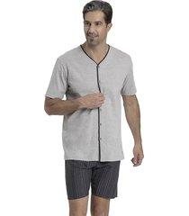 pijama recco aberto de malha algodão cinza - kanui